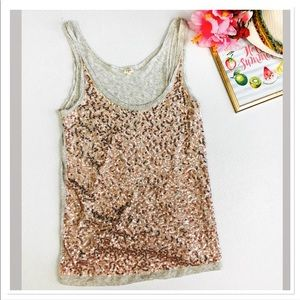 J. Crew Scattered Sequin tank top in rose gold